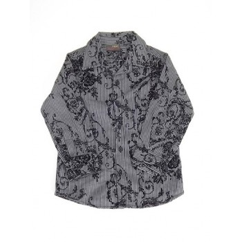 Fekete csíkos-virágos ing