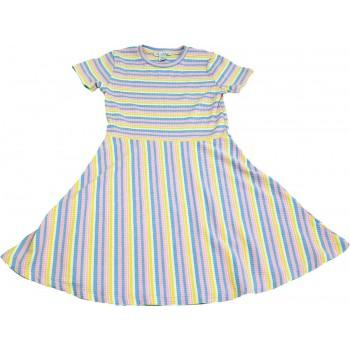 Rózsaszín-kék csíkos ruha (134)