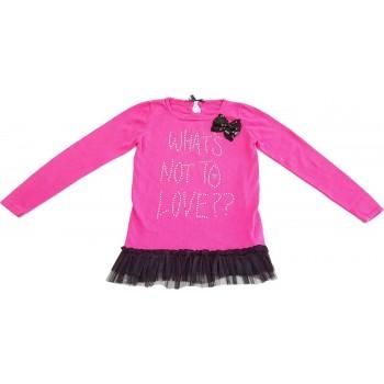 Tüllös pink pulóver (158)