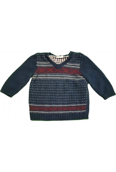 Mintás sötétkék pulóver (62-68)