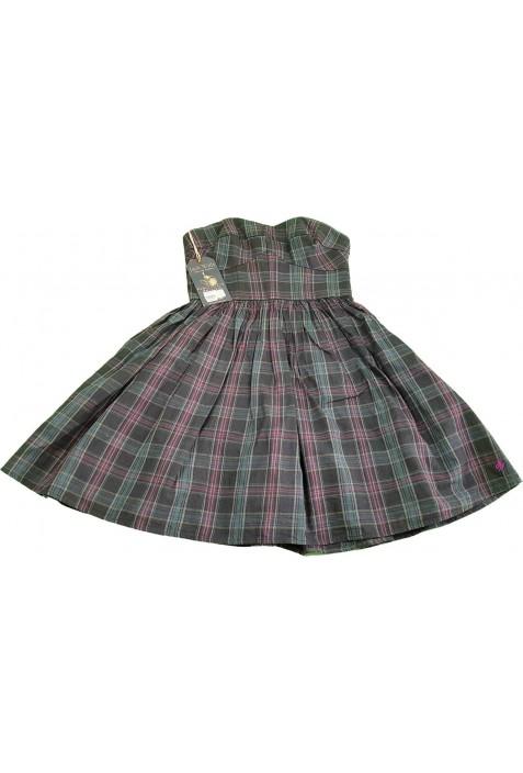 Új, lila-zöld kockás ruha (164-170)