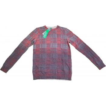 Kockás bordó gyapjú pulóver (146-152)