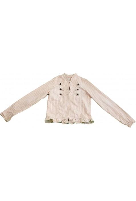 Rózsaszín csíkos kabát (152)