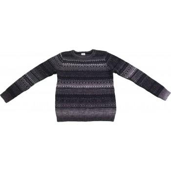 Mintás szürke kötött pulóver (140)