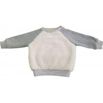 Törtfehér-szürke szőrmés pulóver (74)