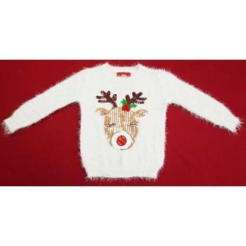 Rénszarvasos fehér pulóver (110)