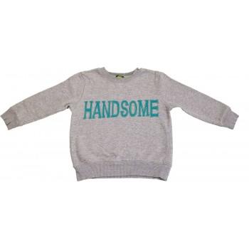 Feliratos szürke pulóver (98-104)