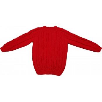 Kötött piros pulóver (116-122)