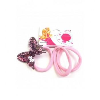 Pillangós rózsaszín hajgumi szett