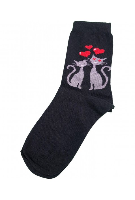 Szerelmes cicás prémium felnőtt zokni (35-38)
