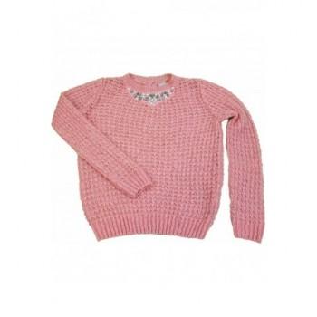 Strasszos rózsaszín pulóver (116)