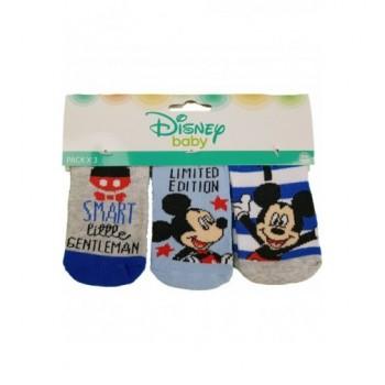 3db-os kék-szürke Mickey baby zokni (0-6 hó)