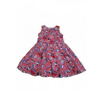 Buszos piros csíkos ruha (140)