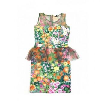 Virágmintás zöld ruha (34)