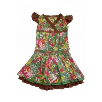 Virágos, csipkés zöld ruha (152)