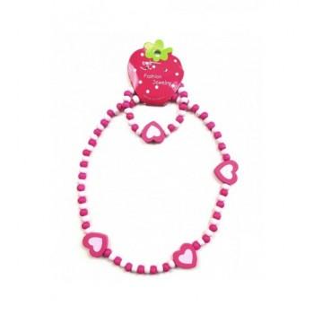 Szíves, pink gyerek nyaklánc, karkötő