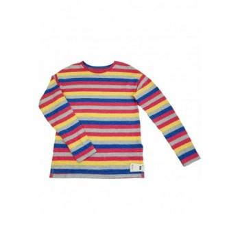 Pink-szürke csíkos pulóver (140)