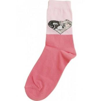Rózsaszín, kutyás-cicás prémium zokni (23-25)