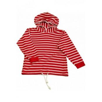 Piros csíkos pulóver (128)