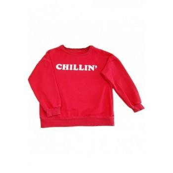 Feliratos piros pulóver (164)