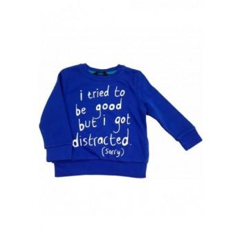 Feliratos kék pulóver (92-98)