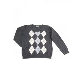 Rombuszmintás szürke pulóver (140)
