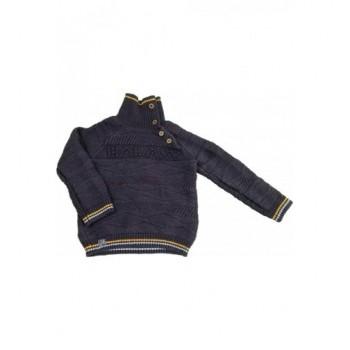 Sötétkék gyapjú-keverék pulóver (98)