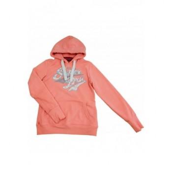 Feliratos neonkorall pulóver (164)