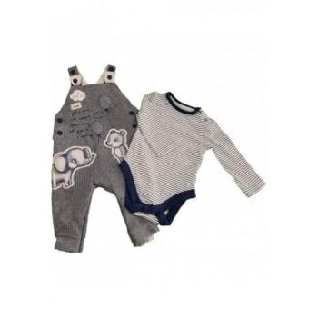 Elefántos kék kantáros nadrág bodyval (62-68)