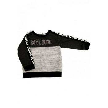 Feliratos, szürke-fekete pulóver (92)