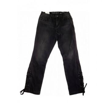 Fűzős fekete farmernadrág (36)