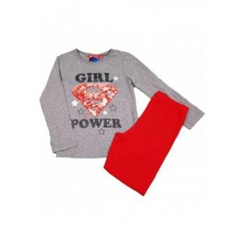 Piros-szürke Girl power pizsama (128)