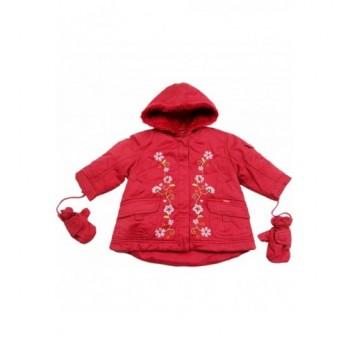 Hímzett virágos bordó kabát (68-74)