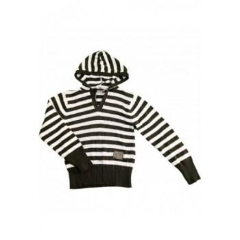 Keki-fehér csíkos pulóver (152)