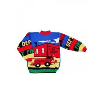 Tűzoltós kék-piros pulóver (98-104)