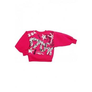 Csillagos pink pulóver (74-80)