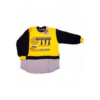 Feliratos sárga pulóver (122)