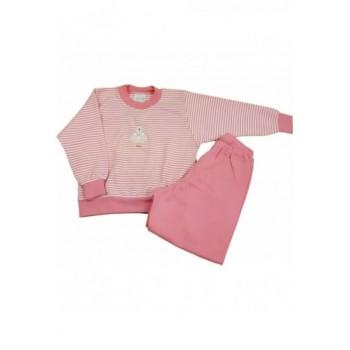 Macis, csíkos rózsaszín pizsama (140)