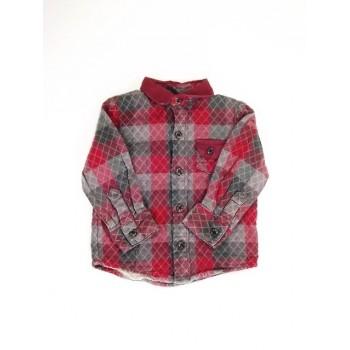 Bordó-szürke kockás ing