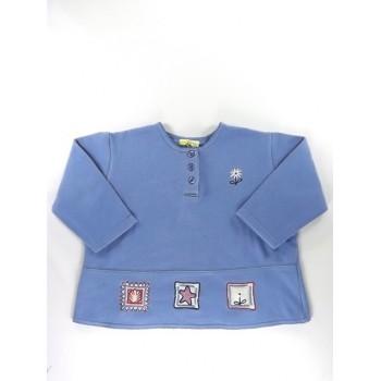Kék virágos pulóver