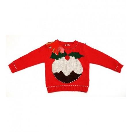 Sütis piros kötött pulóver (98)