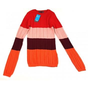 Piros-narancs csíkos pulóver (146-152)