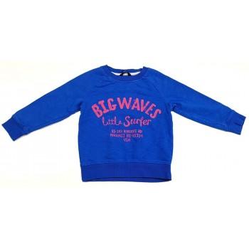Feliratos, vékony kék pulóver (98-104)