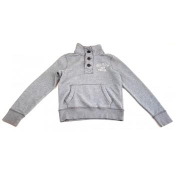 Feliratos szürke pulóver (164-170)