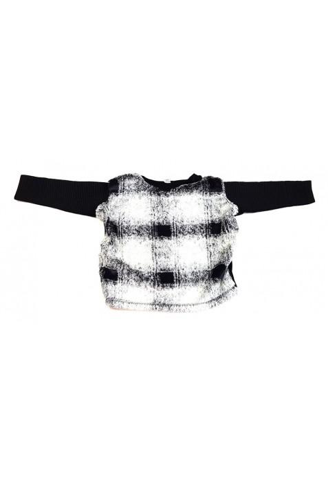 Szürke-fekete szőrmés pulóver (104)