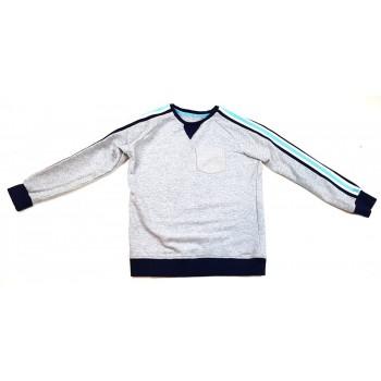 Csíkozott szürke pulóver (152)